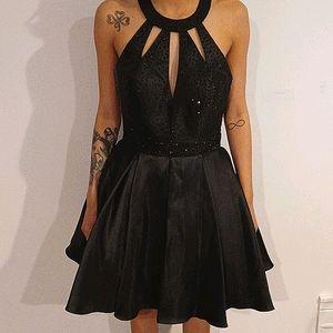 NWT Tiffany Homecoming Black Halter Dress